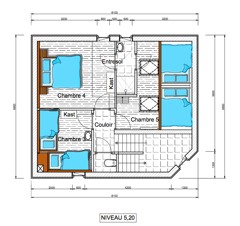 floor plan second floor Chalet Rouge ou Blanc in Villard Reculas